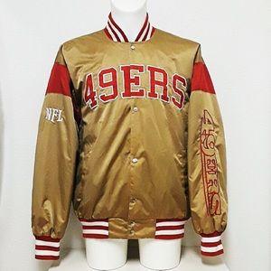 San Francisco 49ers NFL Vtg Satin Bomber Jacket